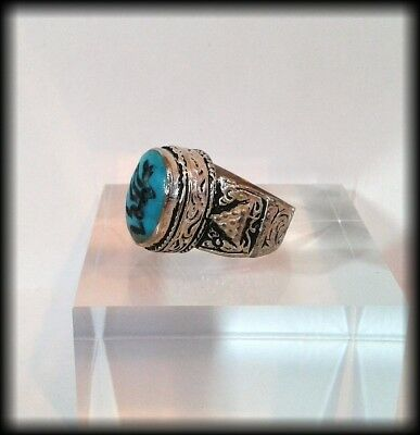 Antique Chunky Near Eastern Carved Turquoise Tughra Wolf Intaglio Seal Ring