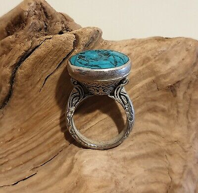 Antique Chunky Near Eastern Carved Turquoise Tughra Antelope Intaglio Seal Ring