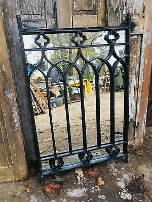 Vintage Cast Iron Industrial Metal Mirror Window - Jewish origins- upcycled