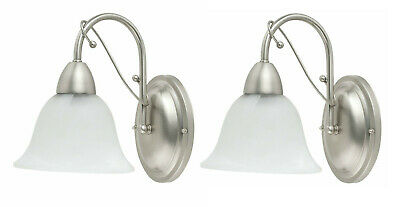 QTY 2 - Globe Candice Wall Sconce, Brushed Steel with Alabaster Globe