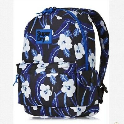 Superdry Print Edition Montana Hibiscus Navy Marl Textile Backpack # M91001NO