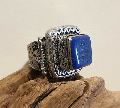 Antique Chunky Near Eastern Carved Lapis Tughra Kirfic Script Intaglio Seal Ring