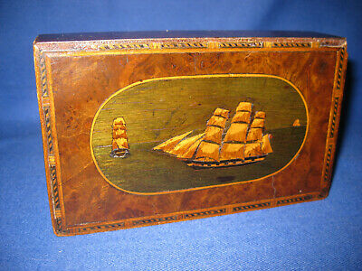 Rare Antique 18th Century Burr Walnut Small Box With Marquetry Inlai Seal Ship