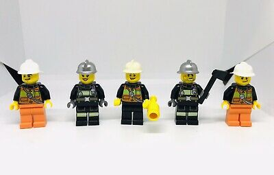 LEGO City Firefighter Minifigure x3 Lot Firemen Fire man authentic people