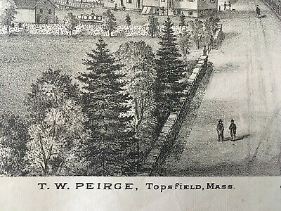 Residence of T.W. Peirce, Topsfield, Mass Lithograph 1884