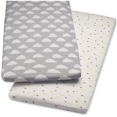 Snuz BEDSIDE CRIB 2 PACK FITTED SHEETS – CLOUD NINE Baby Cot Bedding BN