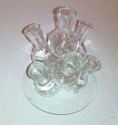 Cluster Bud Flower Vase Flask Beaker 7 Round Bud Holders with Glass Tray