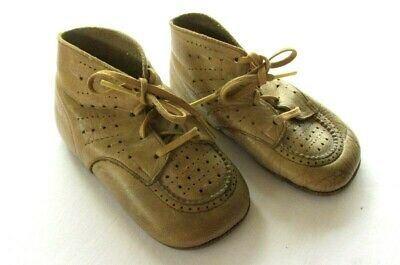 Antique Vtg Leather Baby Doll High Top Shoes With Laces