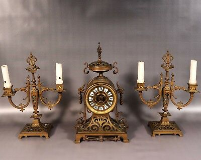 French Brass Clock and Candelabras Japy Freres Garniture SET of 3 Antique