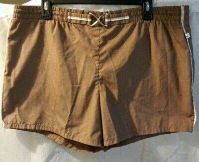 Vintage 80's Men's Jantzen Buckle Brown Swim Shorts sz M/L