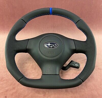 Steering Wheel SUBARU IMPREZA GD WRX STI SPORT STYLE FLAT BOTTOM ! FULL LEATHER