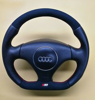 Custom Flat Bottom Steering Wheel For Audi S3 8L 8P Tt 8N Alcantara Leather