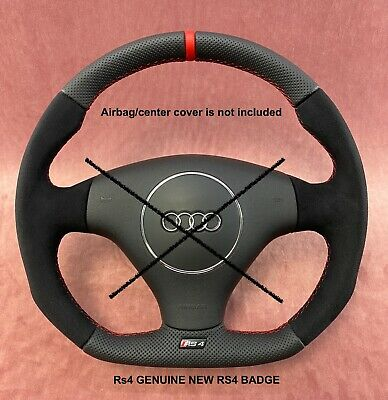 Custom Flat Bottom Steering Wheel Audi Rs4 B5  S4 B6 ! Full Perforated Leather