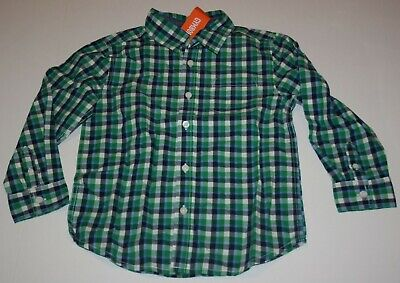New Gymboree Boys 5T Plaid Dress Shirt Button Up Blue Green White Check