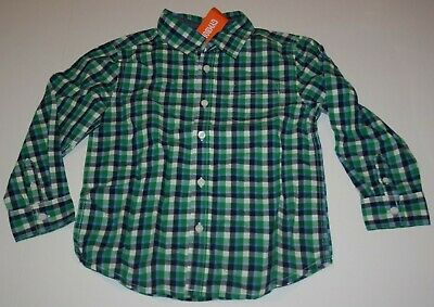 New Gymboree Boys 4T Plaid Dress Shirt Button Up Blue Green White Check