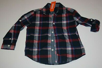 New Gymboree Boys 4T Plaid Dress Shirt Button Up Navy Burgundy Blue Red