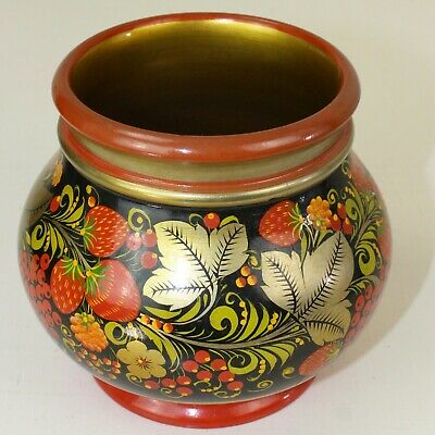 Russian Vase Lacquered Hand Painted Paper Mache Folk Art Gold Red Black Boho