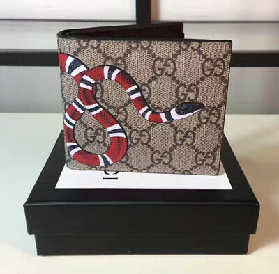 7f612430a20b Gucci KingSnake Print GG Supreme Beige leather Wallet Bifold 4 Slot With Box