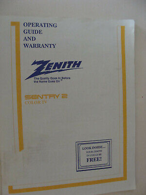 Zenith Sentry 2 Color TV Operating Guide 1990 On-Screen Menu & Cable TV info