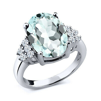 6.00 Ct Oval Sky Blue Simulated Aquamarine 925 Sterling Silver Ring