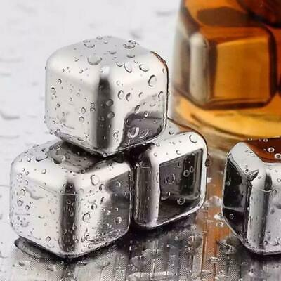 4 x STAINLESS STEEL ICE CUBES REUSEABLE NON MELTING PERFECT DRINK & BLING IT UP.