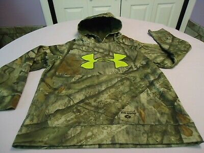 Under Armour Loose Fit Boys Mossy Oak Treestand Camo Graphic Hoodie Youth Small