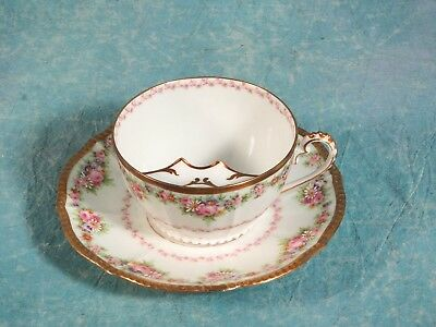 LIMOGES Elite Mustache  Cup Saucer Gold Pink Flowers France  ANTIQUE Victorian