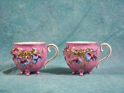 2 Victorian Mustache Cups Raised Gold Applied  Flowers Lace His Hers