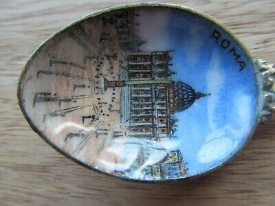 Antique Advertising Sterling Silver  Souvenir Spoons Roma Italy