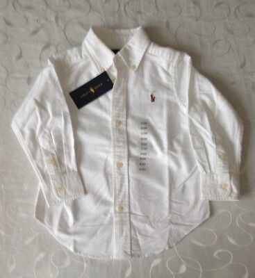 Ralph Lauren Baby  Boy's White Oxford  Long Sleeve 100% Cotton Shirt (2Years)