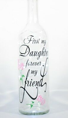 Decorative Wine Bottle with First My Daughter themed verse & Battery LED lights
