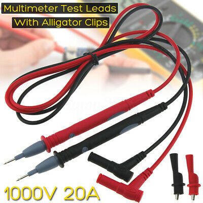 20A Gold Plated Multimeter Test Lead Probe Wire Pen Cable Alligator Clip Set Kit
