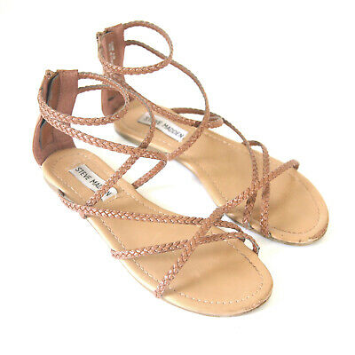 3ca11cceb24 Size 6.5 - STEVE MADDEN Women s Kammi Brown Leather Braided Strap Flat  Sandals