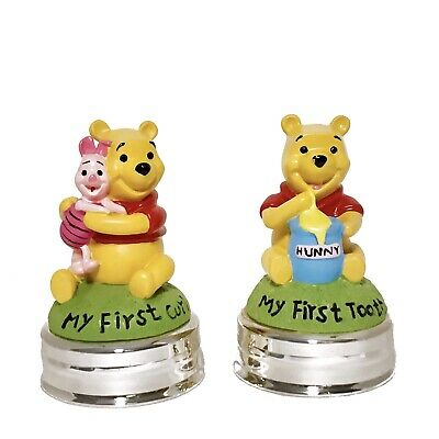 Vintage Winnie The Pooh Silver Plated Keepsake Set 2 Box First Tooth 1st Curl