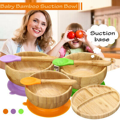 Baby Bamboo Suction Bowl and Matching Spoon Set Suction Stay Put Feeding Food