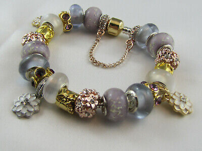 """FREE POST 925 STAMPED 20cm EUROPEAN STYLE CHARM BRACELET """" GOLDEN LILAC"""" #1680"""