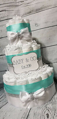 3 Tier Diaper Cake - Baby and Co Shower Diaper Cake / Tiffany Diaper Cake Bling