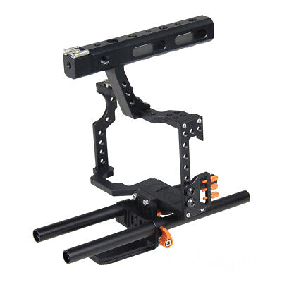 Video Camera Cage Kit 15mm DSLR Rig for Sony A7 A7R A7S w/ Top Handle Orange