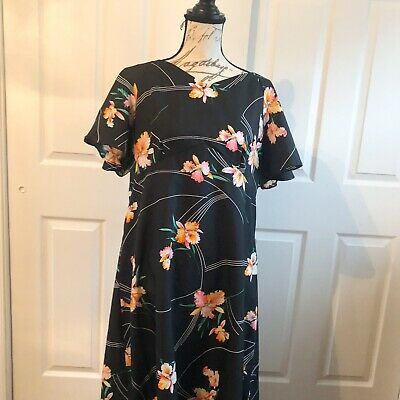 81b06fa57183 Vintage 70s HUKILAU FASHIONS Black Orchids Floral Hawaiian Maxi Dress Muu  Muu 18