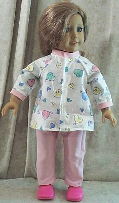 "Doll Clothes Made 2 Fit American Girl 18"" inch Pajamas 2pc Hearts Pink Scrubs"