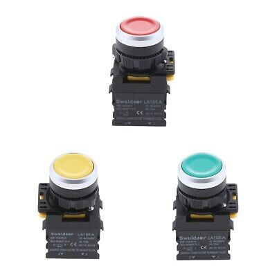 3x22mm Mount 10A AC600V 1NO 1NC DPST Momentary Push Button Switch Waterproof