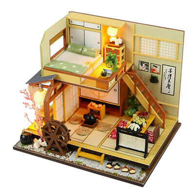 DIY Miniature Doll House Wooden Japanese Forest Holiday House with Furniture