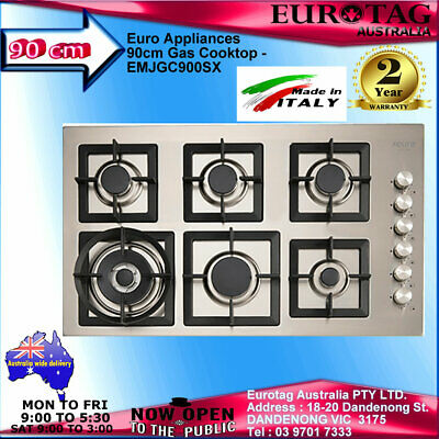 Euro Appliances 90cm Gas Cooktop - EMJGC900SX 2 YEARS WAR.MADE IN ITALY RRP$1249