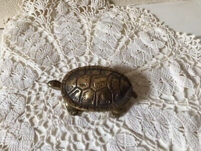 Lidded Brass Tortoise Heavy Early 20th Century Collectable