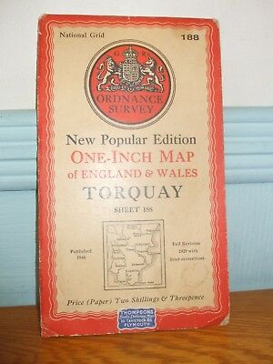 Vintage Map Torquay 1946 New Popular Edition Ordnance Survey One Inch Sheet 188