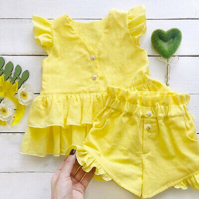 AU Newborn Infant Girls Solid Ruffle Tops+Shorts 2PCS Outfits Set Summer Clothes