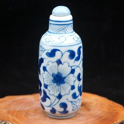 Chinese Blue And White Porcelain rare collectible Flower leaf Snuff Bottle big