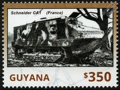 WWI France / French SCHNEIDER CA1 Armoured Fighting Vehicle Tank Stamp