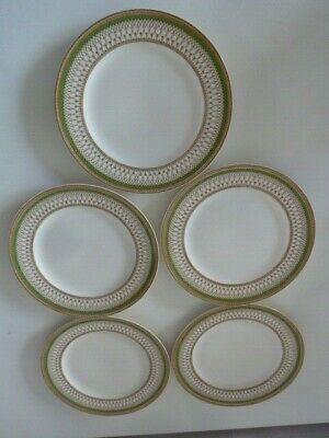 J&G.MEAKIN[ENGLAND] SOL WESTMINSTER 22.5cm DIA WHITE/GREEN/GOLD PLATES x5~c1924