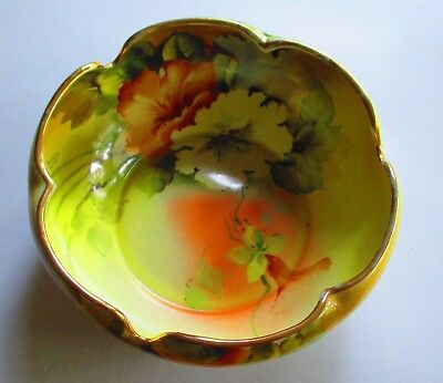 Vintage Noritake M Hand Painted Floral Design Art Deco Curved Candy Bowl. 0387.
